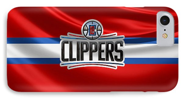 Los Angeles Clippers - 3 D Badge Over Flag IPhone Case by Serge Averbukh