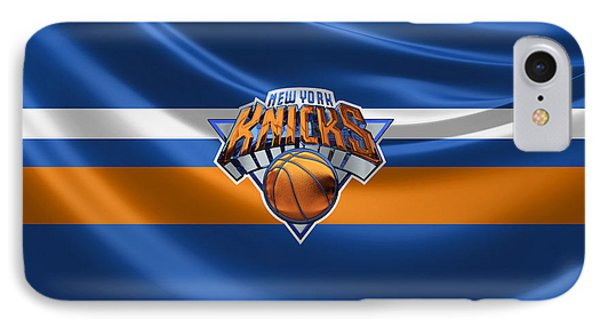 New York Knicks - 3 D Badge Over Flag IPhone Case by Serge Averbukh
