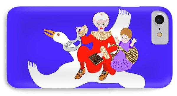 Mother Goose On Her Flying Goose IPhone Case