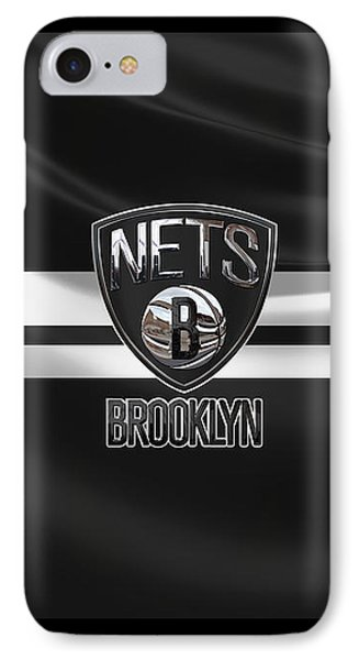 Brooklyn Nets - 3 D Badge Over Flag IPhone Case by Serge Averbukh