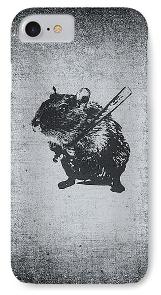 Angry Street Art Mouse  Hamster Baseball Edit  IPhone Case by Philipp Rietz
