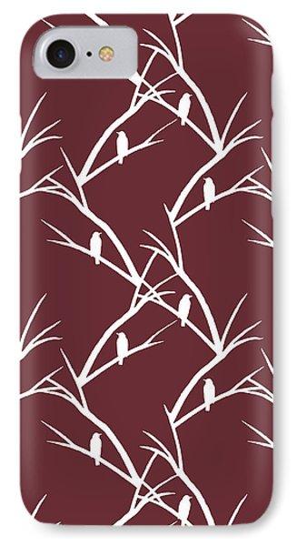 Rustic Bird Art Dark Red Bird Silhouette IPhone Case