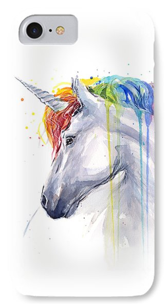 Unicorn Rainbow Watercolor IPhone 7 Case by Olga Shvartsur