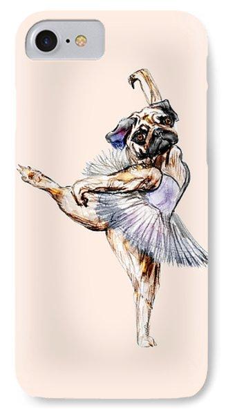 Pug Ballerina Dog IPhone Case by Notsniw Art