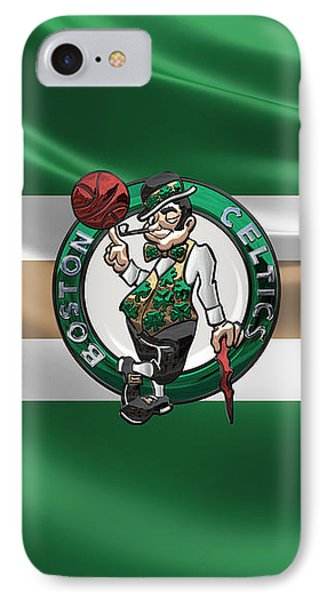 Boston Celtics - 3 D Badge Over Flag IPhone Case by Serge Averbukh