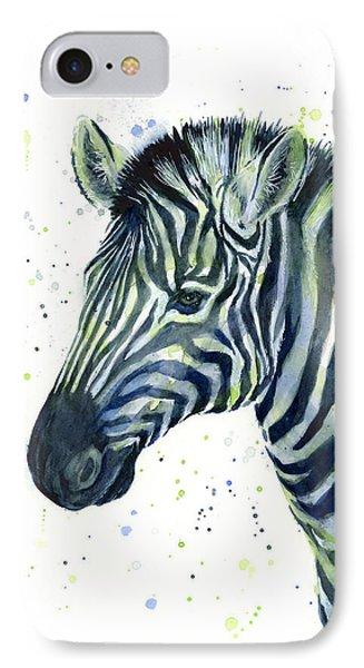 Zebra Watercolor Blue Green  IPhone 7 Case by Olga Shvartsur