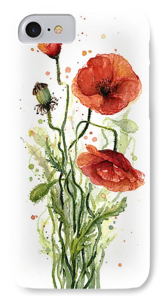 Red Poppies Watercolor IPhone Case