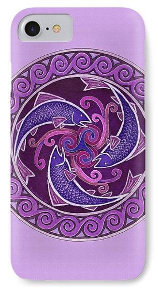 Purple Fish Spiral Mandala IPhone Case by Rebecca Wang