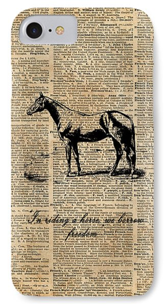 Horse Champion Colt Over Vintage Dictionary Page IPhone Case by Jacob Kuch