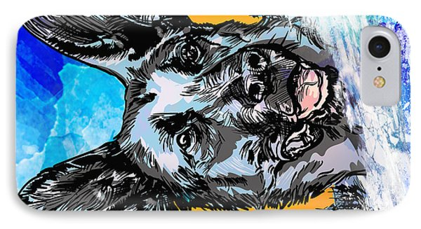 IPhone Case featuring the drawing  Alsatian by Andrzej Szczerski