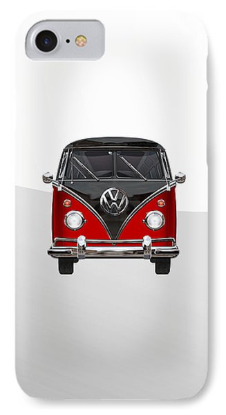 Volkswagen Type 2 - Red And Black Volkswagen T 1 Samba Bus On White  Phone Case by Serge Averbukh