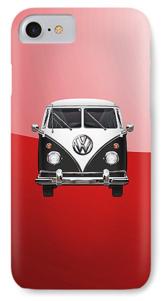 Volkswagen Type 2 - Black And White Volkswagen T 1 Samba Bus On Red  Phone Case by Serge Averbukh
