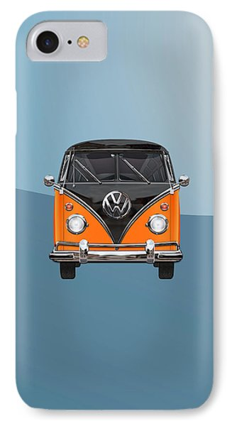 Volkswagen Type 2 - Black And Orange Volkswagen T 1 Samba Bus Over Blue Phone Case by Serge Averbukh