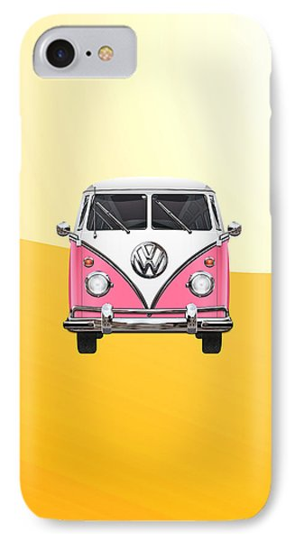 Pink And White Volkswagen T 1 Samba Bus On Yellow Phone Case by Serge Averbukh