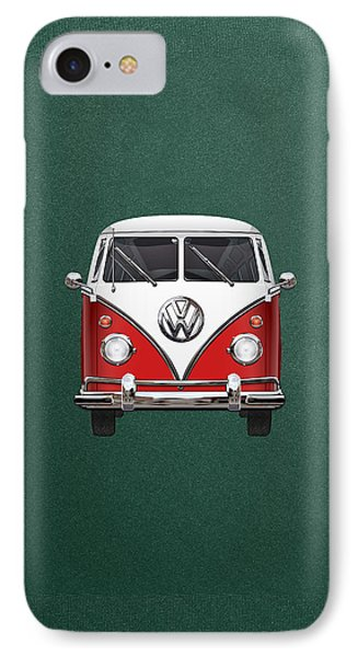 Volkswagen Type 2 - Red And White Volkswagen T 1 Samba Bus Over Green Canvas  Phone Case by Serge Averbukh