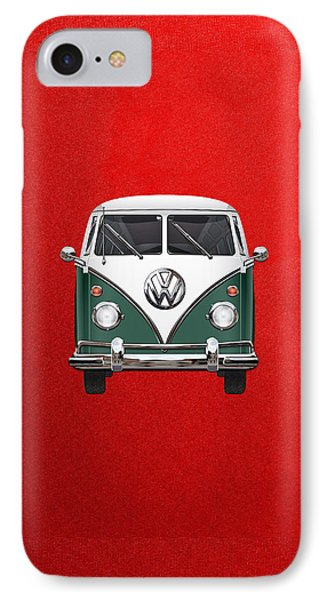 Volkswagen Type 2 - Green And White Volkswagen T 1 Samba Bus Over Red Canvas  Phone Case by Serge Averbukh