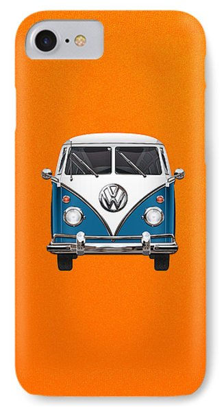 Volkswagen Type 2 - Blue And White Volkswagen T 1 Samba Bus Over Orange Canvas  Phone Case by Serge Averbukh