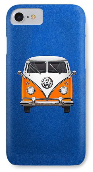 Volkswagen Type - Orange And White Volkswagen T 1 Samba Bus Over Blue Canvas Phone Case by Serge Averbukh