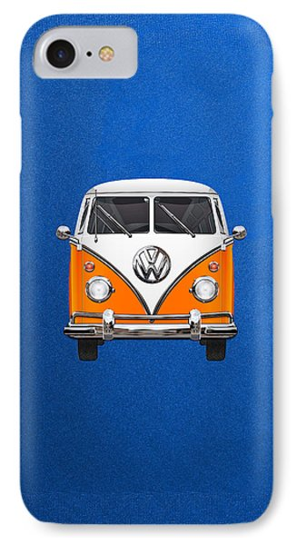 Volkswagen Type - Orange And White Volkswagen T 1 Samba Bus Over Blue Canvas IPhone Case by Serge Averbukh