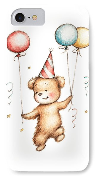 Print Of Teddy Bear With Balloons IPhone Case by Anna Abramska