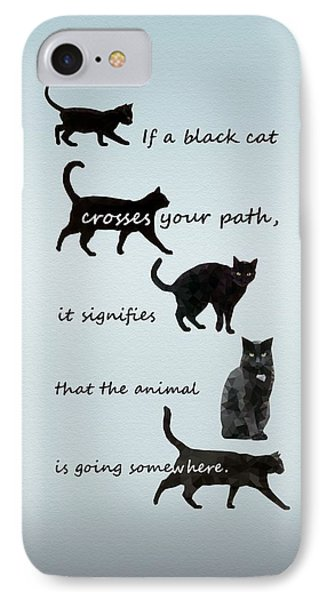 Black Cat Crossing IPhone Case by Ivana Westin