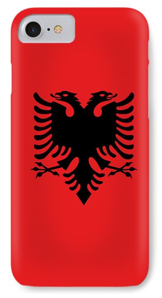 IPhone Case featuring the digital art Flag Of Albania Authentic Version by Bruce Stanfield
