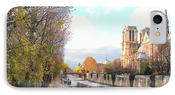 The Seine And Quay Beside Notre Dame, Autumn IPhone Case by Felipe Adan Lerma