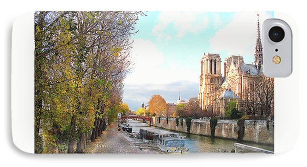 IPhone Case featuring the photograph The Seine And Quay Beside Notre Dame, Autumn by Felipe Adan Lerma