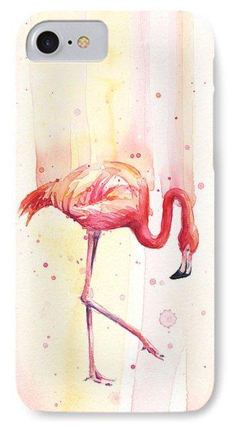 Pink Flamingo Watercolor Rain IPhone Case by Olga Shvartsur