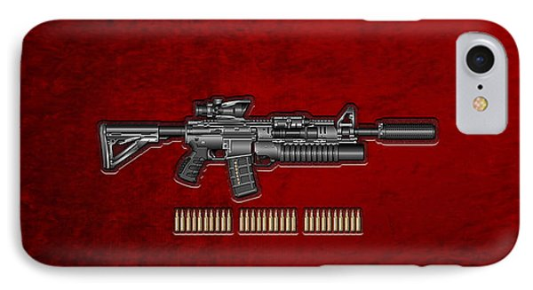 Colt  M 4 A 1  S O P M O D Carbine With 5.56 N A T O Rounds On Red Velvet  Phone Case by Serge Averbukh