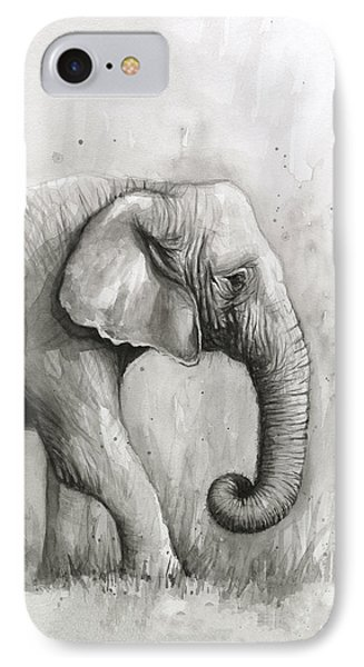 Elephant Watercolor IPhone 7 Case by Olga Shvartsur