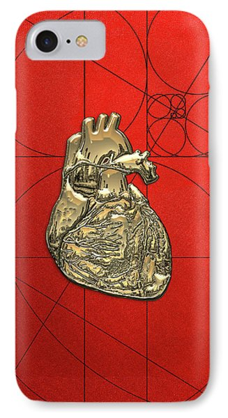 Heart Of Gold - Golden Human Heart On Red Canvas IPhone Case