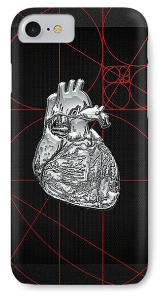 Silver Human Heart On Black Canvas Phone Case by Serge Averbukh