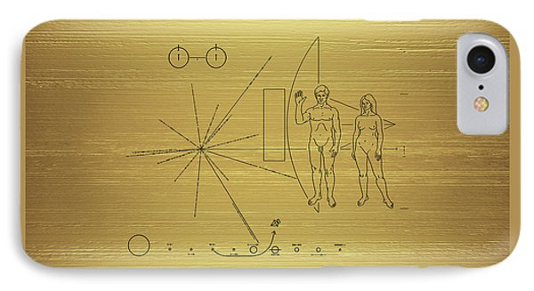 Pioneer 10-11 Golden Plaque IPhone Case by Serge Averbukh