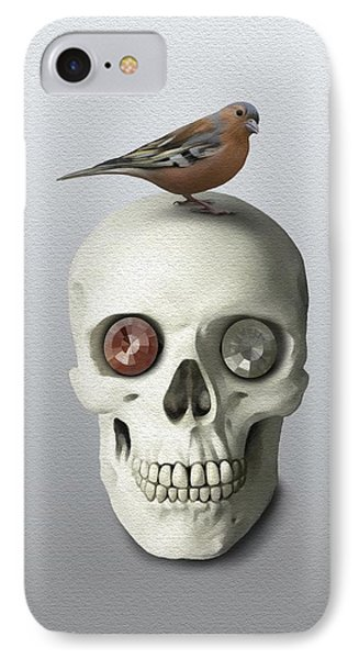 Skull And Bird IPhone Case by Ivana Westin
