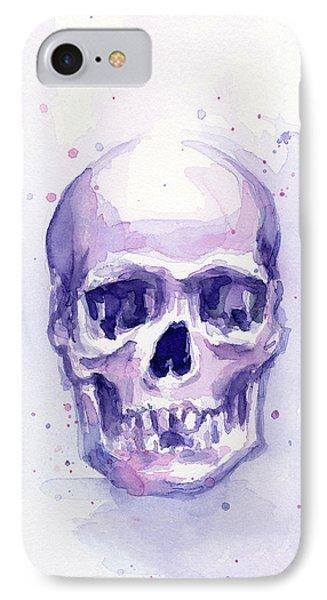 Skull Watercolor Purple IPhone Case by Olga Shvartsur