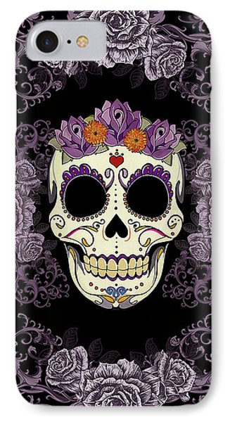 Vintage Sugar Skull And Roses Phone Case by Tammy Wetzel