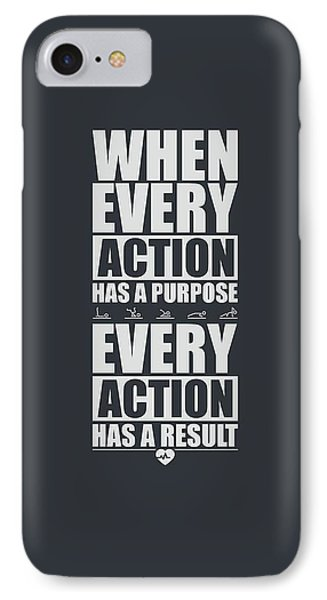 When Every Action Has A Purpose Every Action Has A Result Gym Motivational Quotes IPhone Case
