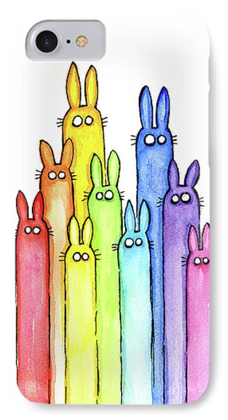 Bunny Rabbits Watercolor Rainbow IPhone 7 Case by Olga Shvartsur