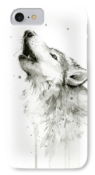 Howling Wolf Watercolor IPhone 7 Case