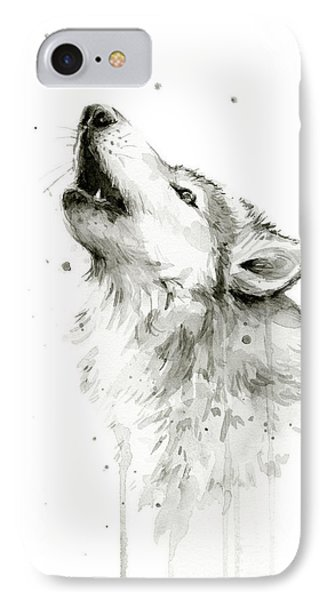 Howling Wolf Watercolor IPhone 7 Case by Olga Shvartsur