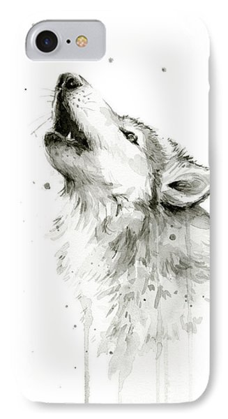 Howling Wolf Watercolor IPhone Case by Olga Shvartsur