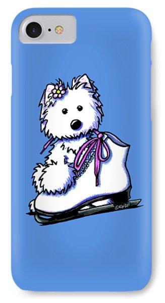 Westie Skater Girl Phone Case by Kim Niles