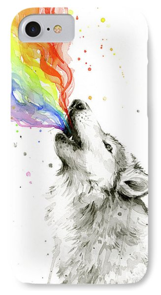 Wolf Rainbow Watercolor IPhone Case by Olga Shvartsur