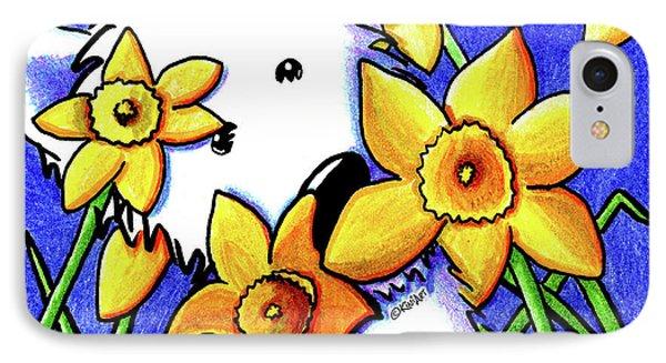Kiniart Westie Daffodils Phone Case by Kim Niles