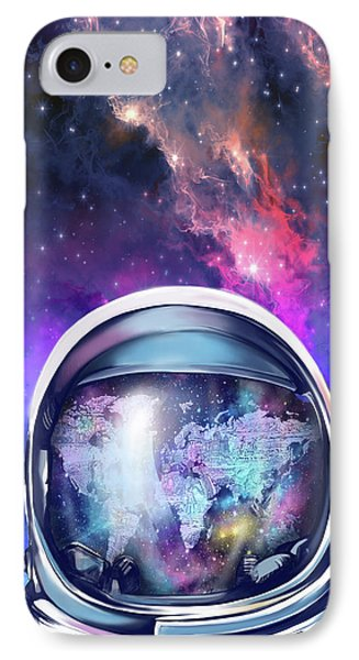 Astronaut World Map 9 IPhone Case