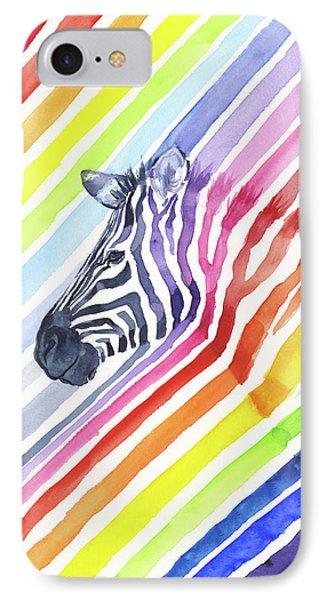 Rainbow Zebra Pattern IPhone 7 Case by Olga Shvartsur