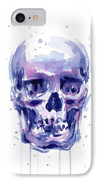 Skull Watercolor IPhone Case by Olga Shvartsur