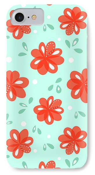 Cheerful Red Flowers IPhone Case