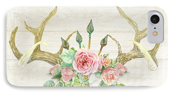 Boho Love - Deer Antlers Floral Inspirational IPhone Case by Audrey Jeanne Roberts